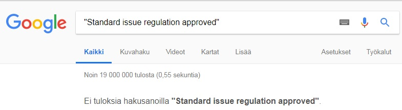 Standard issue regulation approved